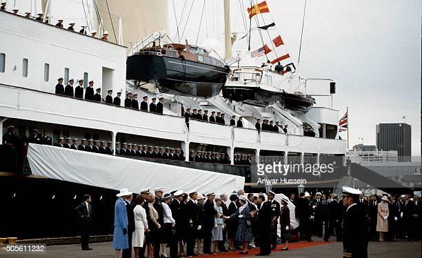Queen Elizabeth ll and Prince Philip Duke of Edinburgh arrive in San Diego on the Royal Yacht Britannia on February 26 1983 in San Diego California...