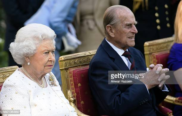 Queen Elizabeth ll and Prince Philip Duke of Edinburgh attend a Garden Party at the British Embassy on the first day of a Visit to France on June 5...