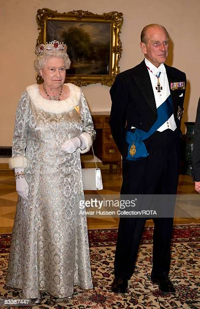 Queen Elizabeth ll and Prince Philip Duke of Edinburgh attend a State Banquet at Brdo Castle on the first day of a State Visit to Slovenia on October...