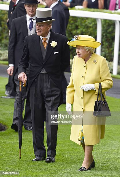 Queen Elizabeth ll and Prince Philip Duke of Edinburgh attend Day 1 of Royal Ascot on June 14 2016 in Ascot England