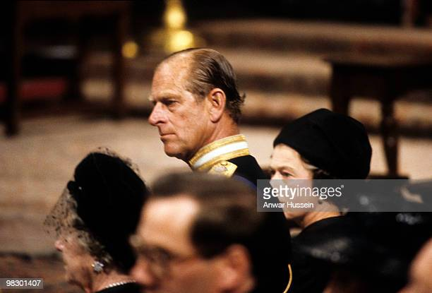 Queen Elizabeth ll and Prince Philip Duke of Edinburgh attend the funeral of Lord Mountbatten in Westminster Abbey on September 5 1979 in London...