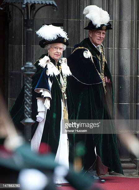 Queen Elizabeth ll and Prince Philip, Duke of Edinburgh attend the Thistle Service for the installation of Prince William as a Knight of the Thistle...