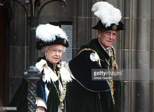 Queen Elizabeth ll and Prince Philip Duke of Edinburgh attend the Thistle Service for the installation of Prince William as a Knight of the Thistle...