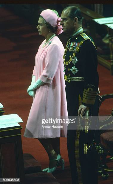 Queen Elizabeth ll and Prince Philip, Duke of Edinburgh attend the Queen's Silver Jubilee thanksgiving service at St. Paul's Cathedral on June 7,...