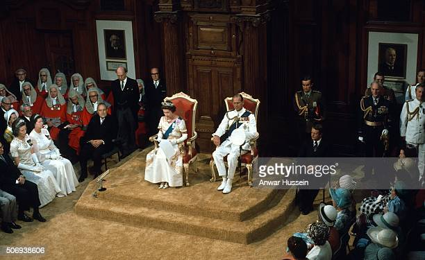 Queen Elizabeth ll and Prince Philip Duke of Edinburgh attend the State Opening of Parliament during the Queen's Silver Jubilee Tour in February 1977...