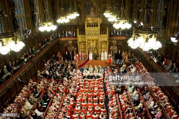 Queen Elizabeth ll and Prince Philip Duke of Edinburgh attend the State Opening of Parliament on December 3 2008 in London England