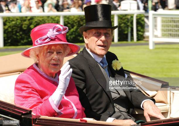 Queen Elizabeth ll and Prince Philip Duke of Edinburgh attends Royal Ascot at Ascot Racecourse on June 16, 2010 in Ascot, England.