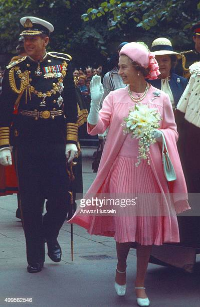 Queen Elizabeth ll and Prince Philip Duke of Edinburgh greet the public during a Silver Jubilee walkabout on June 07 1977 in London England