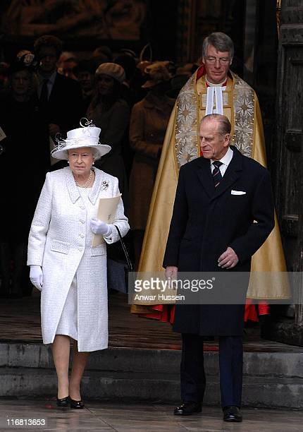 Queen Elizabeth ll and Prince Philip Duke of Edinburgh leave a service of celebration for their Diamond Wedding Anniversary at Westminster Abbey on...
