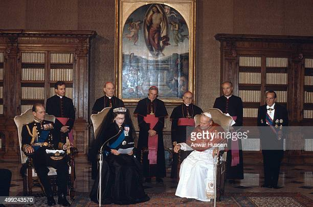 Queen Elizabeth ll and Prince Philip, Duke of Edinburgh meet Pope John Paul ll during their first visit to The Vatican on October 17, 1980 at Vatican...