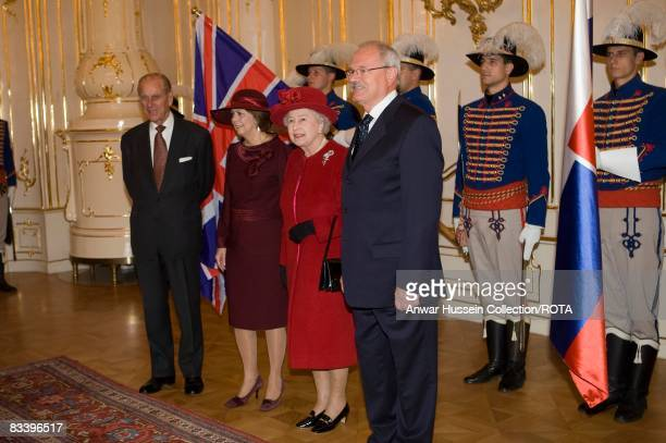 Queen Elizabeth ll and Prince Philip, Duke of Edinburgh meet President Ivan Gasparovic and wife Silvia at the Presidential Palace on the first day of...