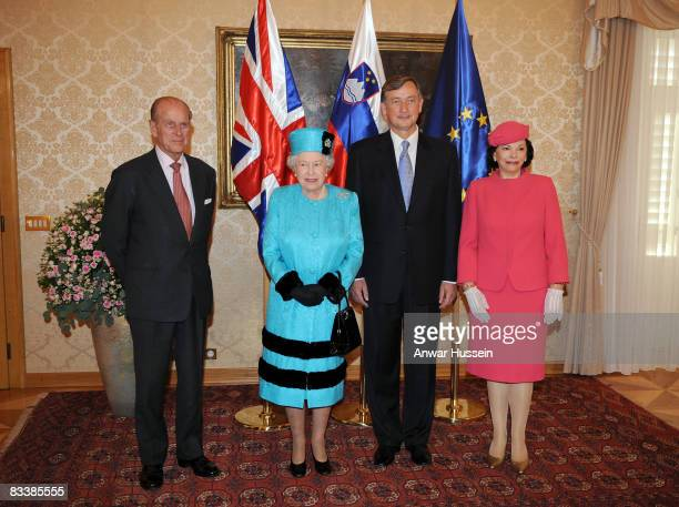 Queen Elizabeth ll and Prince Philip Duke of Edinburgh pose with President Danilo Turk and Barbara Miklic Turk at Brdo Castle on the first day of a...