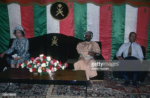 Queen Elizabeth ll and Prince Philip Duke of Edinburgh sit with Sultan Qaboos on February 28 1979 in Muscat Oman
