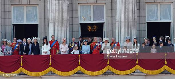 Queen Elizabeth ll and Prince Philip Duke of Edinburgh surrounded by members of the Royal Family stand on the balcony of Buckingham Palace following...