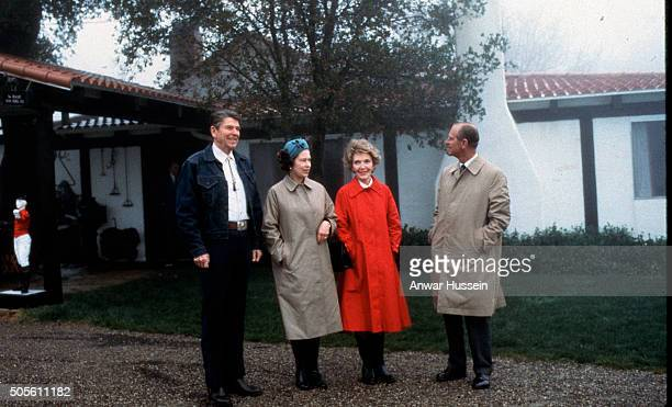 Queen Elizabeth ll and Prince Philip Duke of Edinburgh visit the ranch of President Ronald Reagan and Nancy Reagan during a visit to California on...