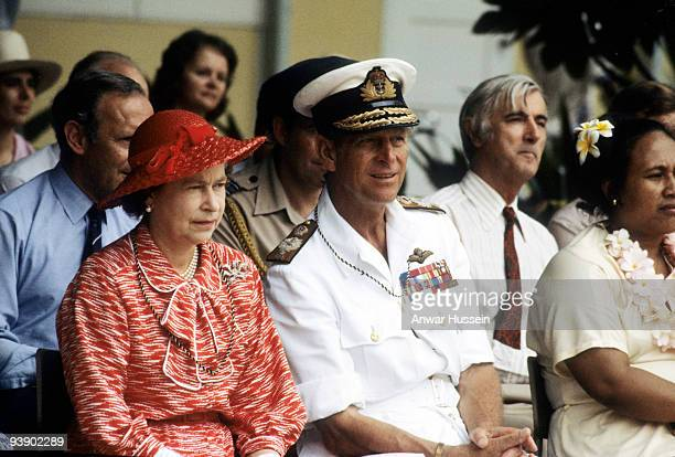 Queen Elizabeth ll and Prince Philip Duke of Edinburgh watch traditional dancers during their South Pacific Tour on October 23 1982 October 23 1982...
