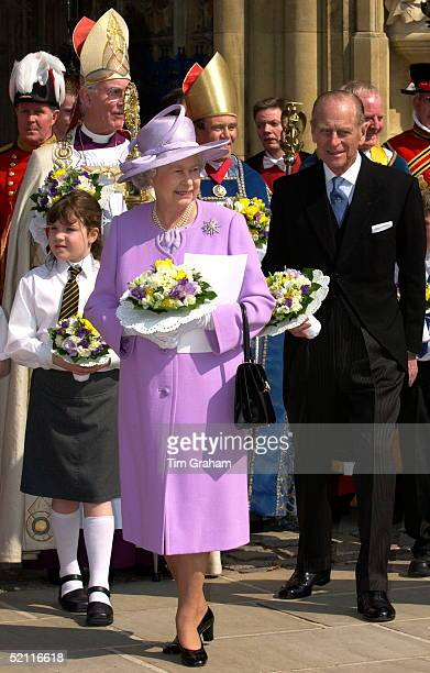 Queen Elizabeth Ll And Prince Philip With The Bishop Of Gloucester Attending The Maundy Service Held This Year For The First Time At Gloucester...