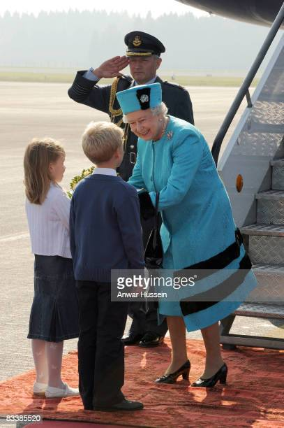 Queen Elizabeth ll arrives at Joze Pucnik airport on the first day of a State Visit to Slovenia on October 21 2008 in Ljubljana Slovenia