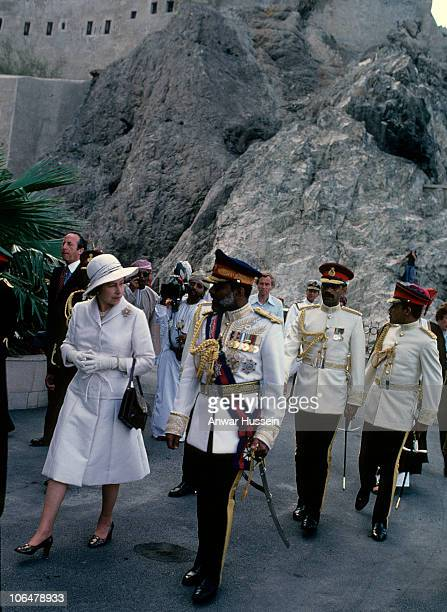 Queen Elizabeth ll arrives at the Royal Palace with Sultan Qaboos on February 28 1979 in Muscat Oman