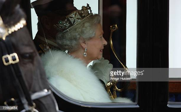 Queen Elizabeth ll arrives by coach at the House of Lords for the State Opening of Parliament on November 15, 2006 in London, England.