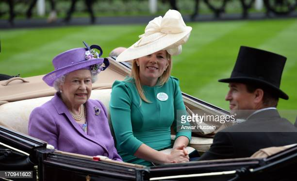 Queen Elizabeth ll arrives with Autumn Phillips and Peter Phillips on Day 3 of Royal Ascot at Ascot Racecourse on June 20 2013 in Ascot England