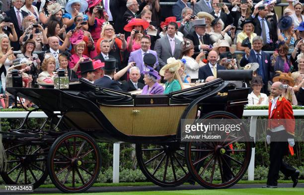 Queen Elizabeth ll arrives with Autumn Phillips Peter Phillips and Prince Andrew Duke of York on Day 3 of Royal Ascot at Ascot Racecourse on June 20...