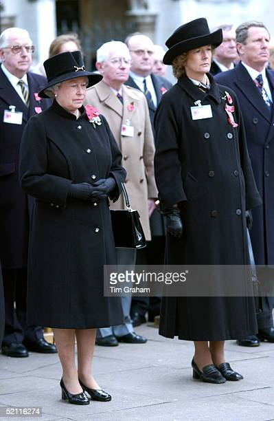 Queen Elizabeth Ll At The Service Of Remembrance In Westminster At St Margaret's Church Standing With Mrs Sarah Jones Chairman Of The Royal British...