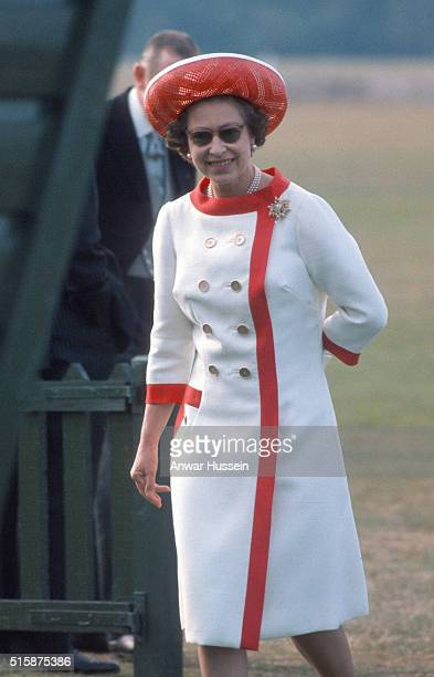 Queen Elizabeth ll attend a polo match at Windsor Great Park after attending Royal Ascot on June 17 1976 in Windsor England