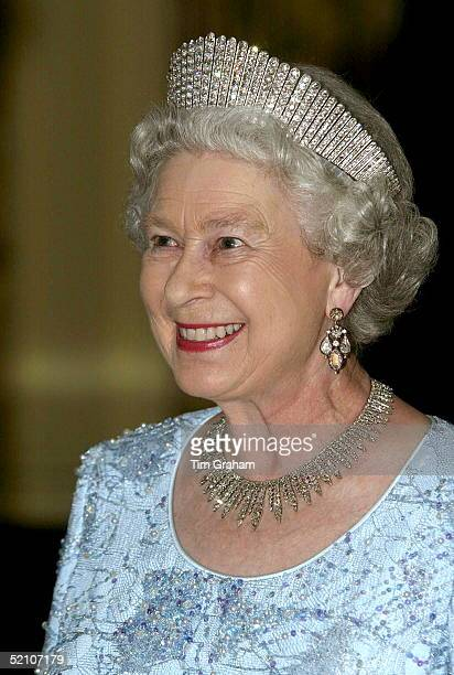Queen Elizabeth Ll Attending A Dinner At The Governor General's Residence, Kings House, Wearing The Russian Fringe Diamond Tiara [ Originally Given...