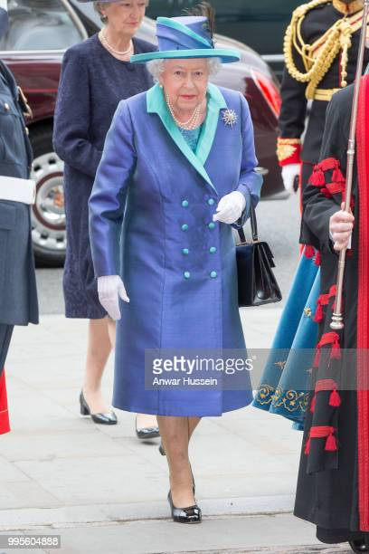 Queen Elizabeth ll attends a service at Westminster Abbey to mark the centenary of the Royal Air Force on July 10 2018 in London England