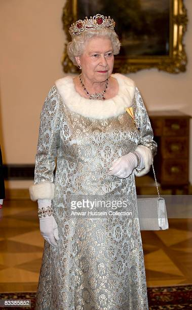 Queen Elizabeth ll attends a State Banquet at Brdo Castle on the first day of a State Visit to Slovenia on October 21 2008 in Ljubljana Slovenia