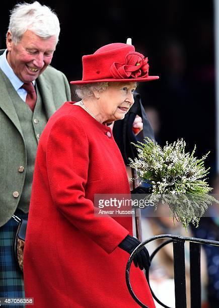 Queen Elizabeth ll attends the Braemar Highland Games on September 05 2015 in Braemar Scotland There has been an annual gathering at Braemar in the...