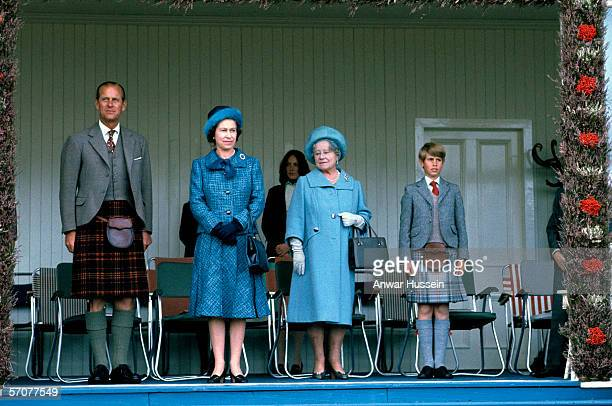 Queen Elizabeth ll attends the Braemar Royal Highland Gathering with Prince Phillip the Duke of Edinburgh The Queen Mother and Prince Edward in...