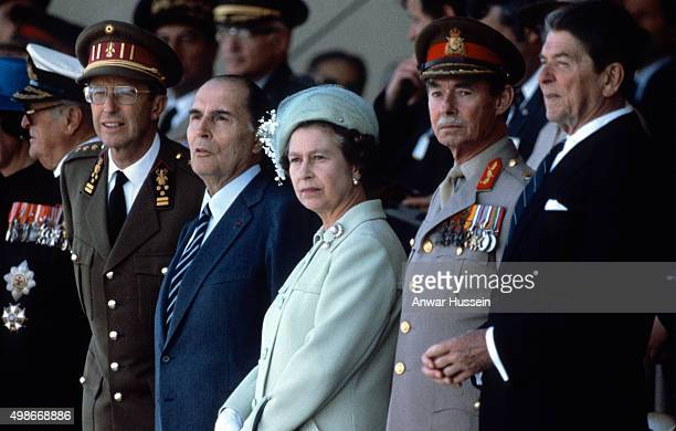 Queen Elizabeth ll attends the D-Day celebrations together with King Olav of Norway, King Baudouin of Belgium, President Mitterrand, Grand Duke Jean...