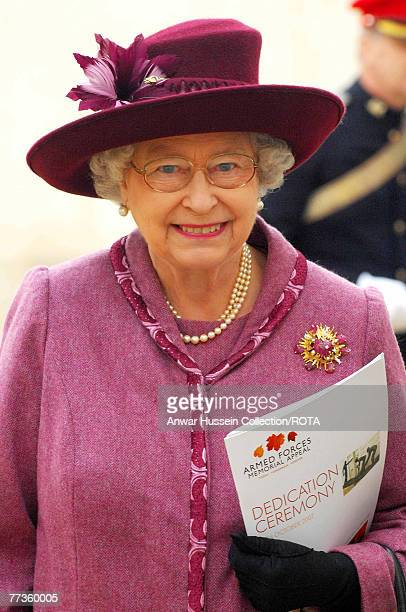Queen Elizabeth ll attends the dedication ceremony for the new National Armed Forces Memorial on October 12, 2007 in Lichfield, England. Almost...