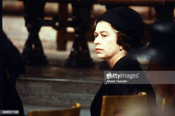 Queen Elizabeth ll attends the funeral of Lord Mountbatten in Westminster Abbey on September 5 1979 in London England