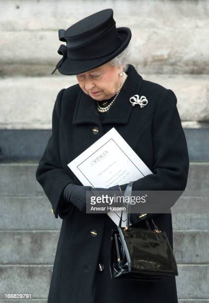 Queen Elizabeth ll attends the funeral of Margaret Thatcher at St. Paul's Cathedral on April 17, 2013 in London, England.