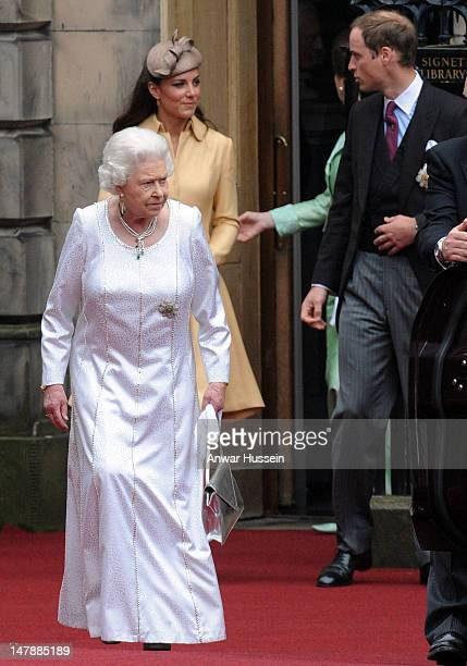 Queen Elizabeth ll, Catherine, Duchess of Cambridge and Prince William, Duke of Cambridge leave following the Thistle Service for the installation of...