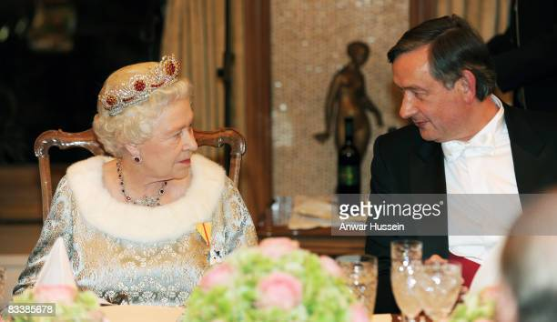 Queen Elizabeth ll chats to President Danilo Turk during a State Banquet at Brdo Castle on the first day of a State Visit to Slovenia on October 21...