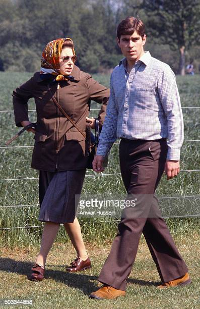 Queen Elizabeth ll cuts to Prince Andrew during the Royal Windsor Horse Show on May 19, 1980 in Windsor, England.
