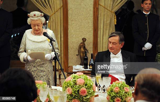Queen Elizabeth ll delivers a speech during a State Banquet at Brdo Castle on the first day of a State Visit to Slovenia on October 21 2008 in...