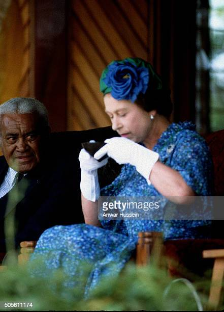 Queen Elizabeth ll drinks kava during a tour of the South Pacific on October 30 1982 in Fiji Pacific Islands