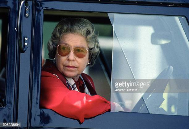 Queen Elizabeth ll drives her four wheel drive Land Rover during the Royal Windsor Horse Show on May 16 1992 in Windsor England
