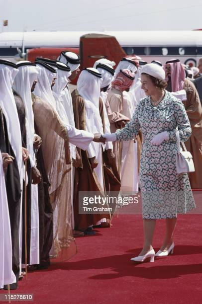 Queen Elizabeth ll greeting people on her arrival in Abu Dhabi during a State Visit to the Gulf States United Arab Emirates 25 February 1979