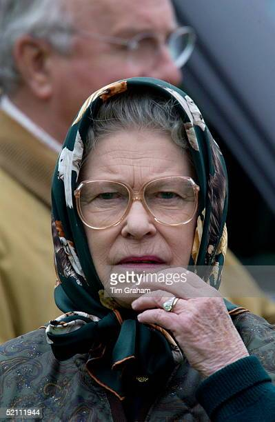 Queen Elizabeth Ll In Casual Clothes Headscarf And Spectacles Looking Anxious While Watching Her Husband Competing In The Cross Country Section Of...