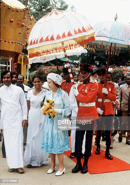 Queen Elizabeth ll is welcomed at a ceremony during her state visit to Sri Lanka in 1981