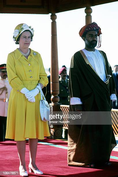 Queen Elizabeth ll is welcomed by Sultan Qaboos during a State Visit to Oman on February 28, 1979 in Muscat, Oman.