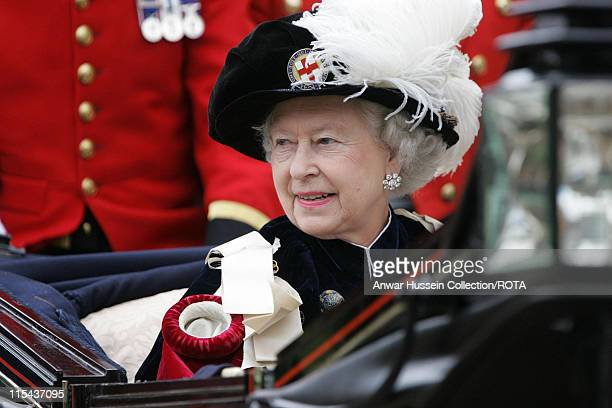 Queen Elizabeth ll leaves St George's Chapel in Windsor by carriage following the annual Garter Service on June 19 2006 The Duke of York and the Earl...