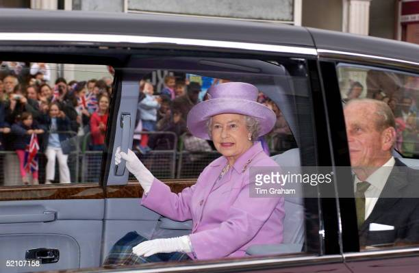 Queen Elizabeth Ll Leaving The Highgate Hill Murugan Hindu Temple In Archway In Her New Bentley State Limousine Car With Prince Philip This Is The...