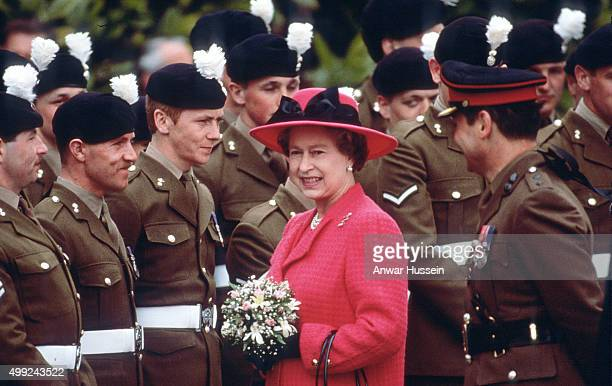 Queen Elizabeth ll meets members of the Royal Welch Fusiliers at Powis Castle on her birthday April 21 1989 in Powis Wales